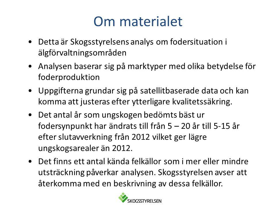Om materialet •Detta är Skogsstyrelsens analys om fodersituation i älgförvaltningsområden •Analysen baserar sig på marktyper med olika betydelse för f