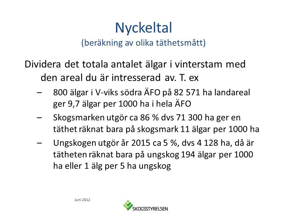 Nyckeltal (beräkning av olika täthetsmått) Dividera det totala antalet älgar i vinterstam med den areal du är intresserad av. T. ex –800 älgar i V-vik