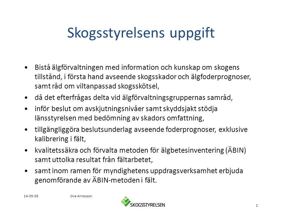Skogsstyrelsens uppgift •Bistå älgförvaltningen med information och kunskap om skogens tillstånd, i första hand avseende skogsskador och älgfoderprogn