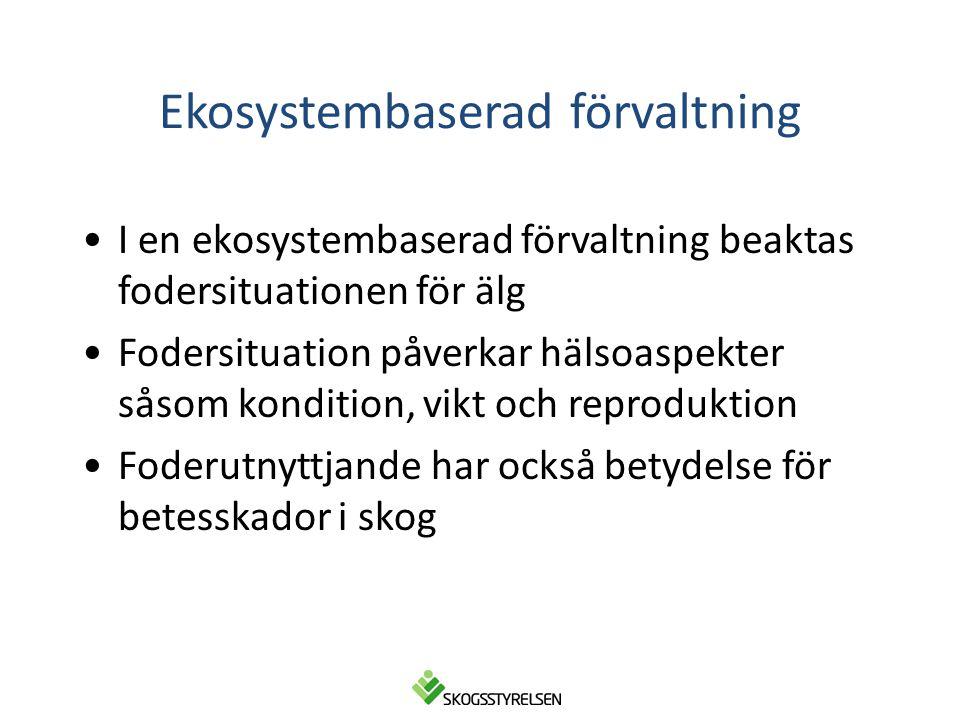 Ekosystembaserad förvaltning •I en ekosystembaserad förvaltning beaktas fodersituationen för älg •Fodersituation påverkar hälsoaspekter såsom konditio