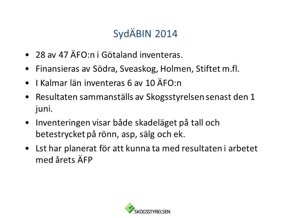 SydÄBIN 2014 •28 av 47 ÄFO:n i Götaland inventeras. •Finansieras av Södra, Sveaskog, Holmen, Stiftet m.fl. •I Kalmar län inventeras 6 av 10 ÄFO:n •Res