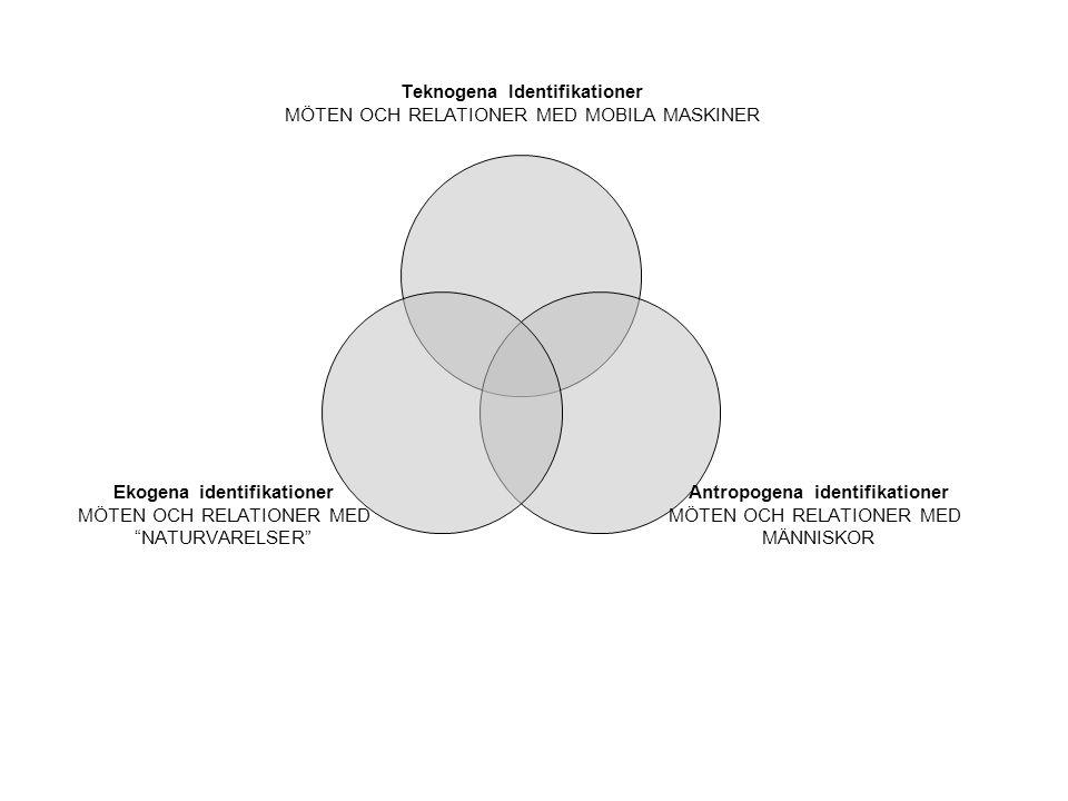 Teknogena Identifikationer MÖTEN OCH RELATIONER MED MOBILA MASKINER Antropogena identifikationer MÖTEN OCH RELATIONER MED MÄNNISKOR Ekogena identifikationer MÖTEN OCH RELATIONER MED NATURVARELSER