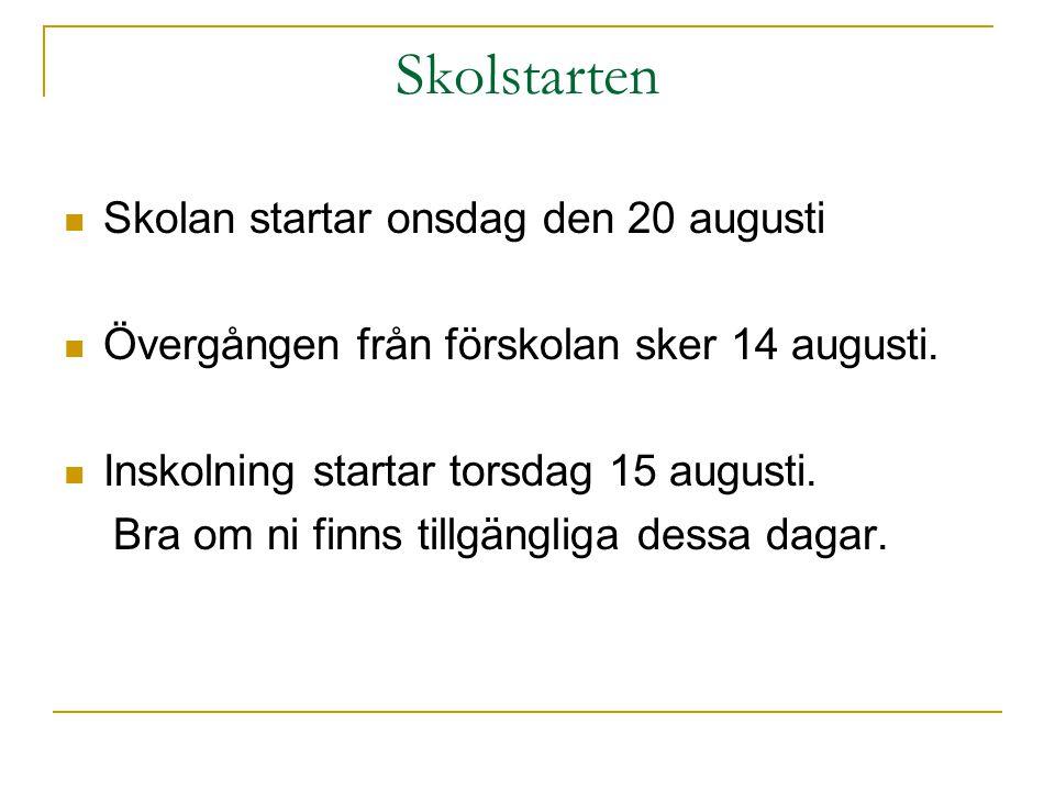 Skolstarten  Skolan startar onsdag den 20 augusti  Övergången från förskolan sker 14 augusti.  Inskolning startar torsdag 15 augusti. Bra om ni fin