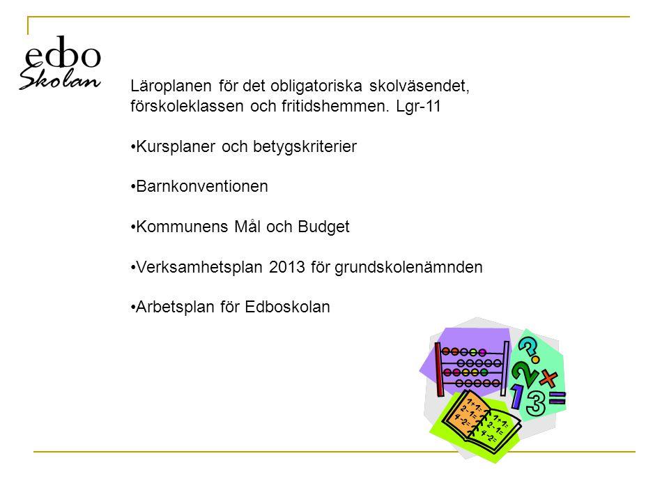 Läroplanen för det obligatoriska skolväsendet, förskoleklassen och fritidshemmen. Lgr-11 •Kursplaner och betygskriterier •Barnkonventionen •Kommunens