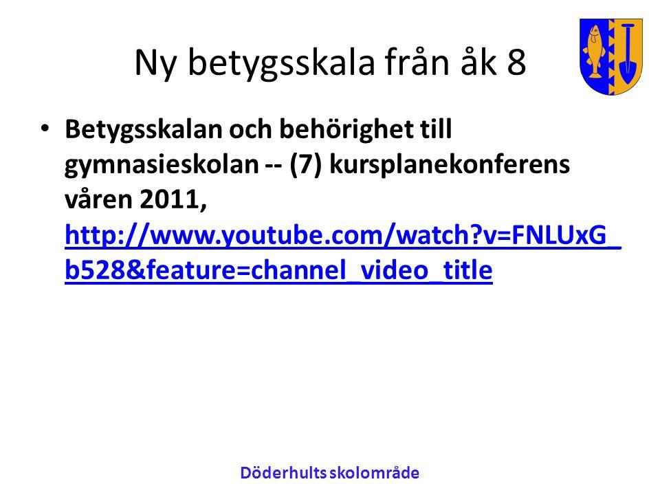 Ny betygsskala från åk 8 • Betygsskalan och behörighet till gymnasieskolan -- (7) kursplanekonferens våren 2011, http://www.youtube.com/watch?v=FNLUxG_ b528&feature=channel_video_title http://www.youtube.com/watch?v=FNLUxG_ b528&feature=channel_video_title Döderhults skolområde