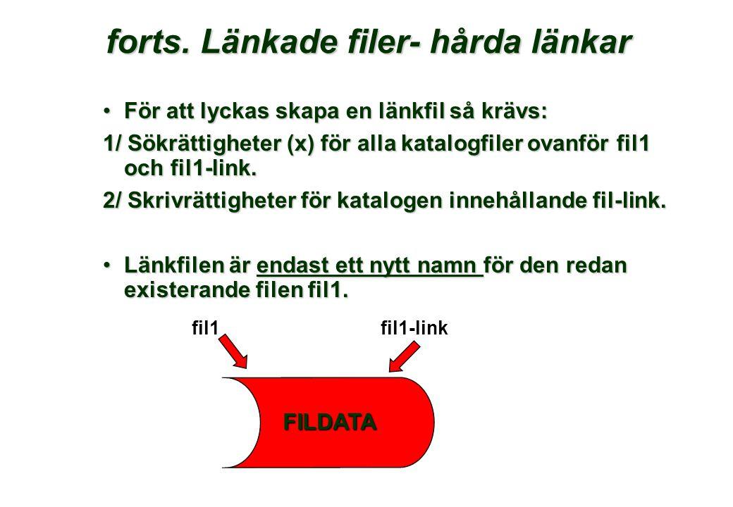 forts.Länkade filer- hårda länkar forts.