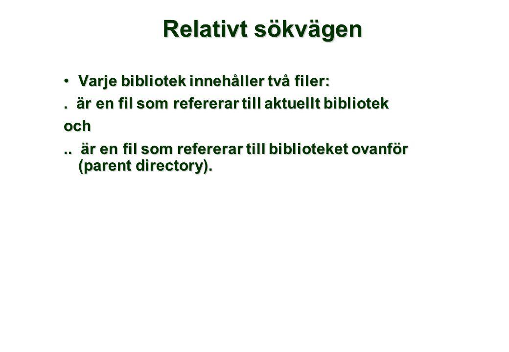 Relativt sökvägen •Varje bibliotek innehåller två filer:.