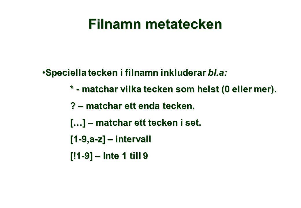 Filnamn metatecken •Speciella tecken i filnamn inkluderar bl.a: * - matchar vilka tecken som helst (0 eller mer).