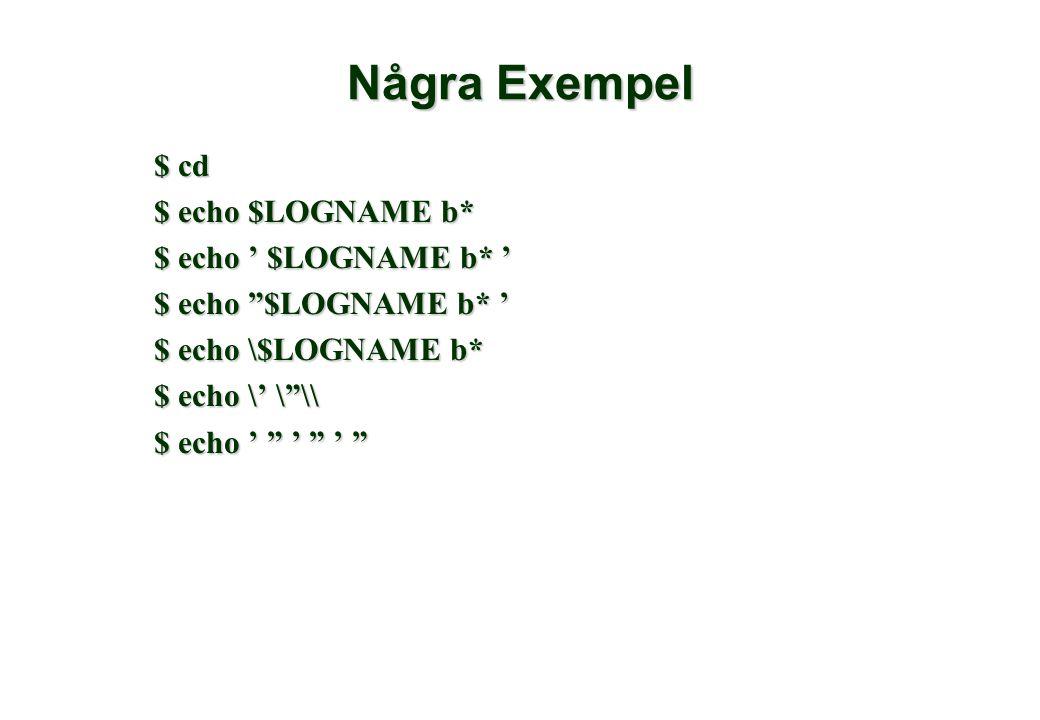 Några Exempel $ cd $ echo $LOGNAME b* $ echo ' $LOGNAME b* ' $ echo $LOGNAME b* ' $ echo \$LOGNAME b* $ echo \' \ \\ $ echo ' ' '