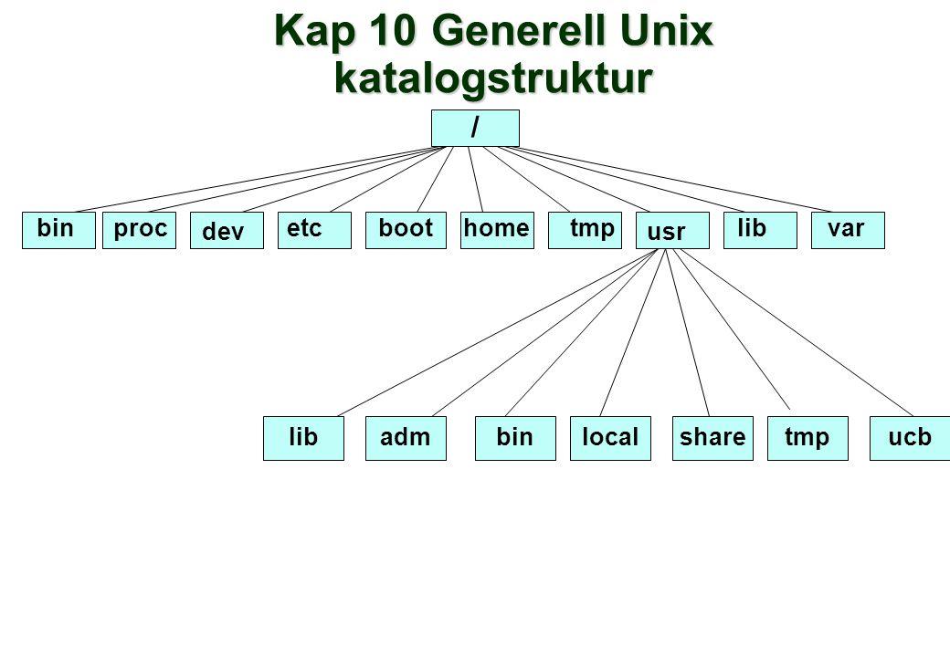 Kap 10 Generell Unix katalogstruktur / bin dev etcboot hometmp usr libvar libadmbinlocalsharetmpucb proc