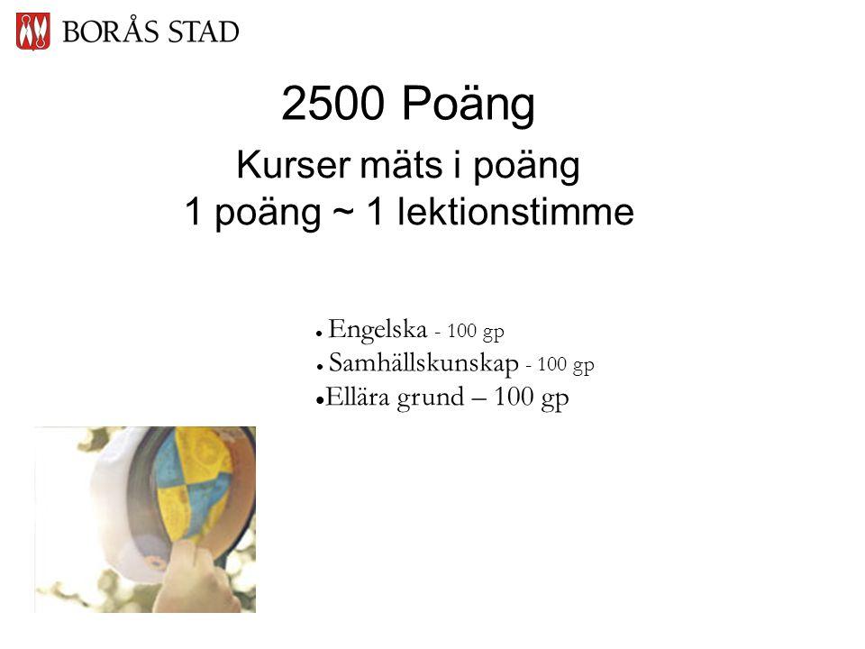 Kurser mäts i poäng 1 poäng ~ 1 lektionstimme  Ellära grund – 100 gp  Samhällskunskap - 100 gp  Engelska - 100 gp 2500 Poäng