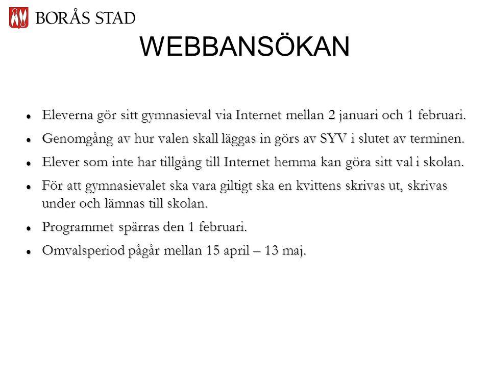 WEBBANSÖKAN  Eleverna gör sitt gymnasieval via Internet mellan 2 januari och 1 februari.