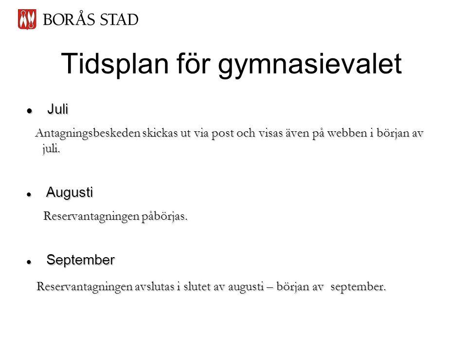 Tidsplan för gymnasievalet  Juli Antagningsbeskeden skickas ut via post och visas även på webben i början av juli.