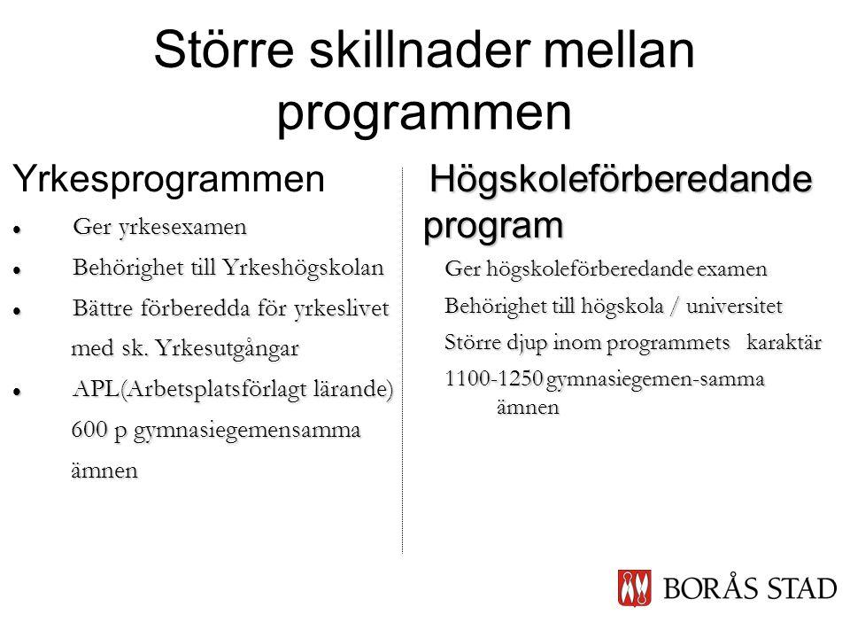 Större skillnader mellan programmen Yrkesprogrammen  Ger yrkesexamen  Behörighet till Yrkeshögskolan  Bättre förberedda för yrkeslivet med sk.