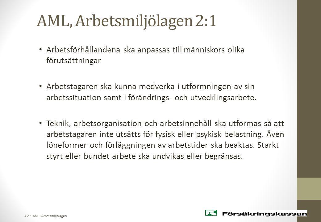 AML, Arbetsmiljölagen 2:1 • Arbetsförhållandena ska anpassas till människors olika förutsättningar • Arbetstagaren ska kunna medverka i utformningen a