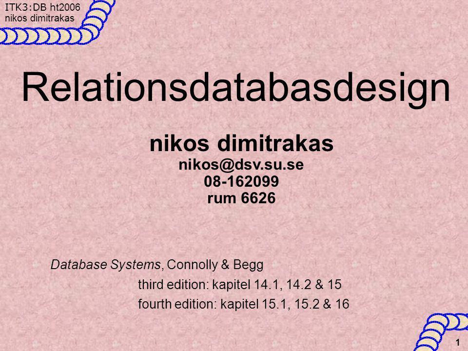 ITK3:DB h t2006 nikos dimitrakas 12 Flervärda attribut •Man kan också omvandla den konceptuella modellen för att få bort det flervärda attributet Sedan kan man hantera denna ett-till-många relation.