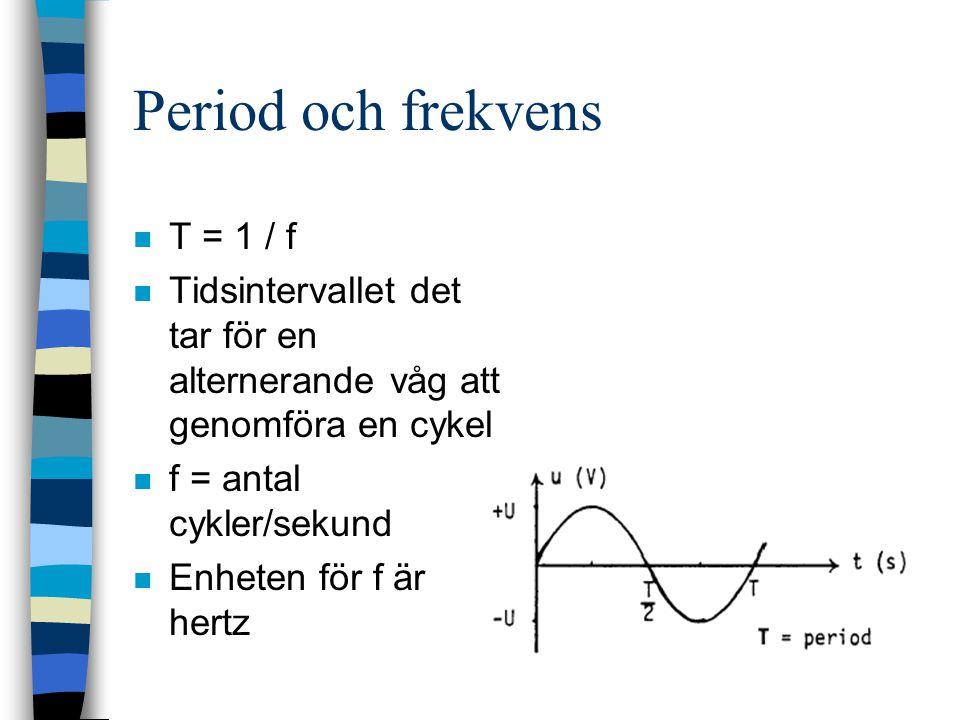 Period och frekvens n T = 1 / f n Tidsintervallet det tar för en alternerande våg att genomföra en cykel n f = antal cykler/sekund n Enheten för f är