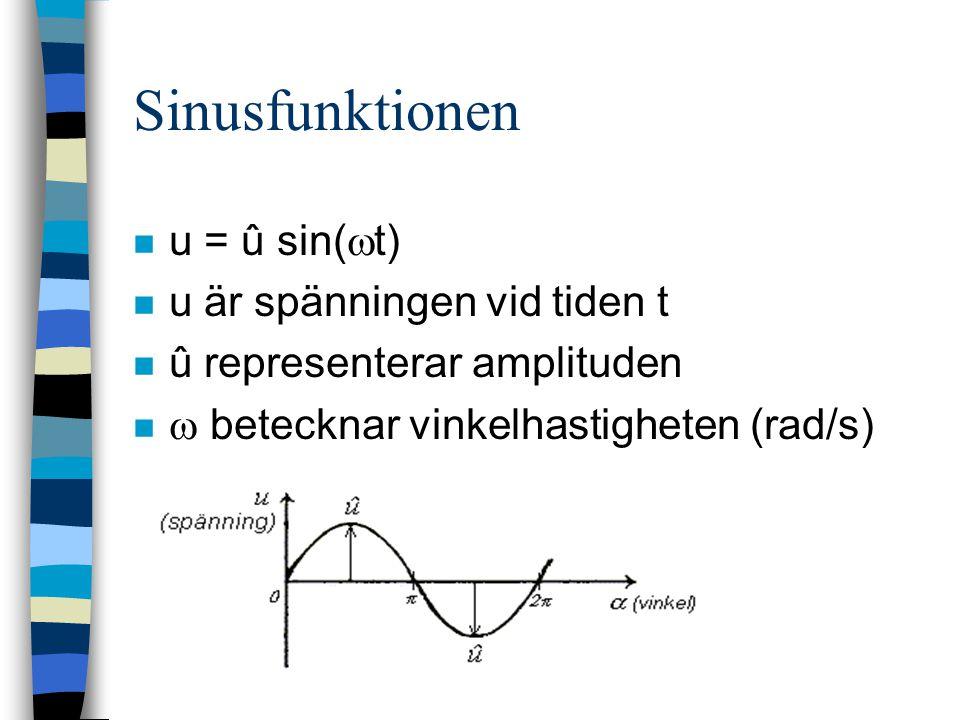 Resistor i växelströmskrets n I princip oberoende av frekvensen n Ström-spänning i fas n î = û/R