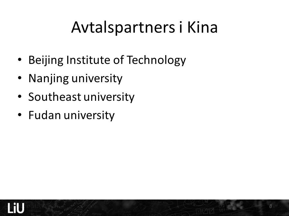 Avtalspartners i Kina • Beijing Institute of Technology • Nanjing university • Southeast university • Fudan university 8