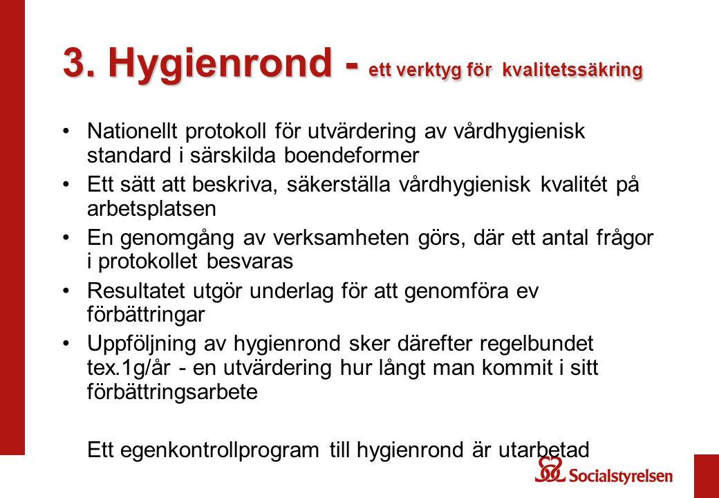 3. Hygienrond - ett verktyg för kvalitetssäkring •Nationellt protokoll för utvärdering av vårdhygienisk standard i särskilda boendeformer •Ett sätt at