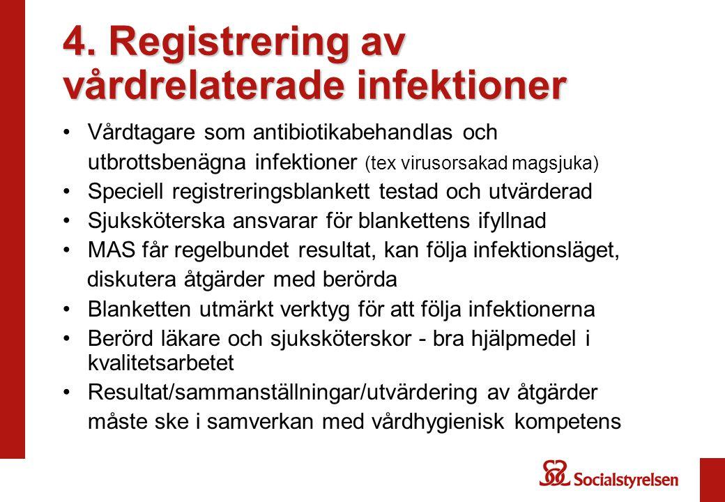 4. Registrering av vårdrelaterade infektioner •Vårdtagare som antibiotikabehandlas och utbrottsbenägna infektioner (tex virusorsakad magsjuka) •Specie