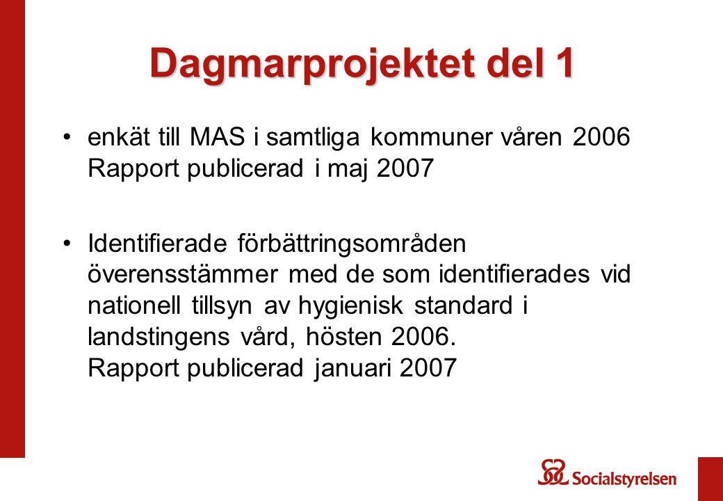 Dagmarprojektet del 1 •enkät till MAS i samtliga kommuner våren 2006 Rapport publicerad i maj 2007 •Identifierade förbättringsområden överensstämmer m