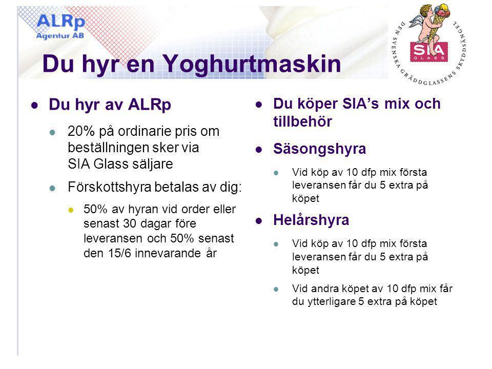 Du hyr en Yoghurtmaskin  Du hyr av ALRp  20% på ordinarie pris om beställningen sker via SIA Glass säljare  Förskottshyra betalas av dig:  50% av