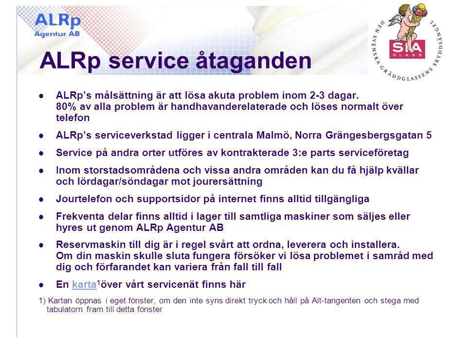 ALRp service åtaganden  ALRp's målsättning är att lösa akuta problem inom 2-3 dagar. 80% av alla problem är handhavanderelaterade och löses normalt ö