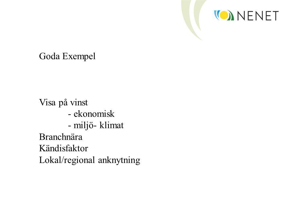Goda Exempel Visa på vinst - ekonomisk - miljö- klimat Branchnära Kändisfaktor Lokal/regional anknytning