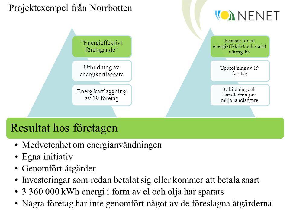 Resultat hos företagen •Medvetenhet om energianvändningen •Egna initiativ •Genomfört åtgärder •Investeringar som redan betalat sig eller kommer att be