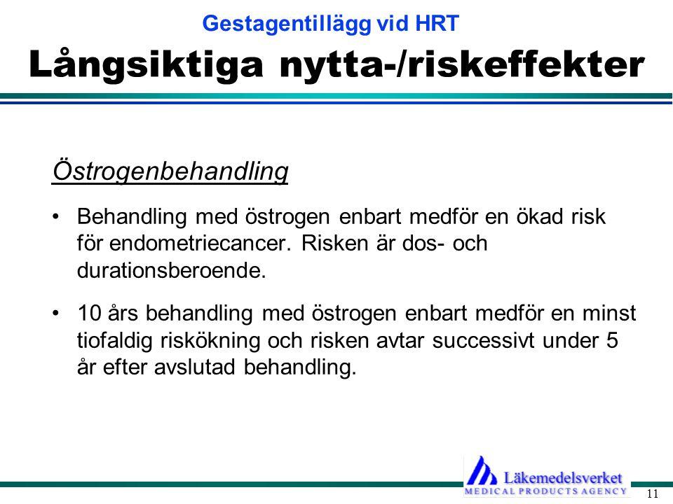 Gestagentillägg vid HRT 11 Långsiktiga nytta-/riskeffekter Östrogenbehandling •Behandling med östrogen enbart medför en ökad risk för endometriecancer.