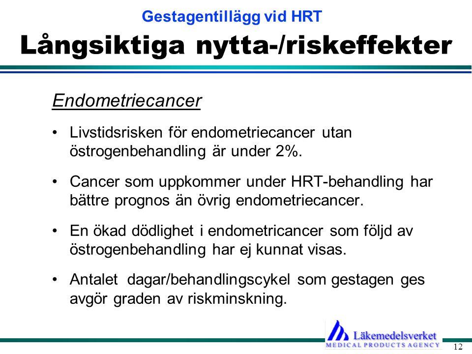 Gestagentillägg vid HRT 12 Långsiktiga nytta-/riskeffekter Endometriecancer •Livstidsrisken för endometriecancer utan östrogenbehandling är under 2%.