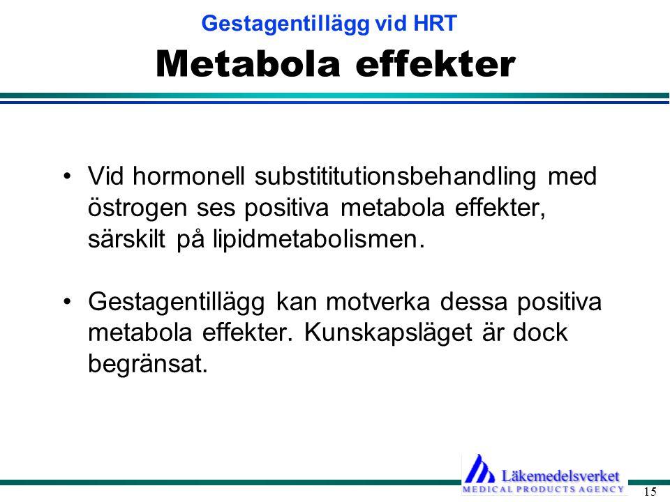 Gestagentillägg vid HRT 15 Metabola effekter •Vid hormonell substititutionsbehandling med östrogen ses positiva metabola effekter, särskilt på lipidme
