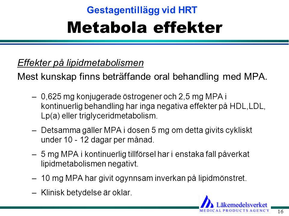 Gestagentillägg vid HRT 16 Metabola effekter Effekter på lipidmetabolismen Mest kunskap finns beträffande oral behandling med MPA. –0,625 mg konjugera