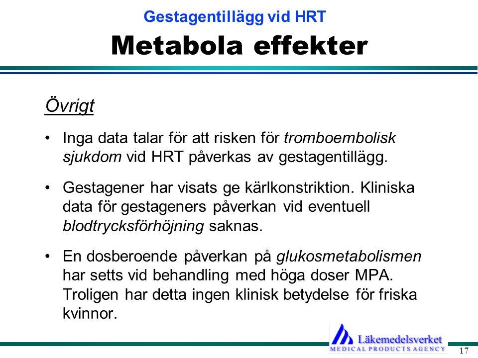 Gestagentillägg vid HRT 17 Metabola effekter Övrigt •Inga data talar för att risken för tromboembolisk sjukdom vid HRT påverkas av gestagentillägg.
