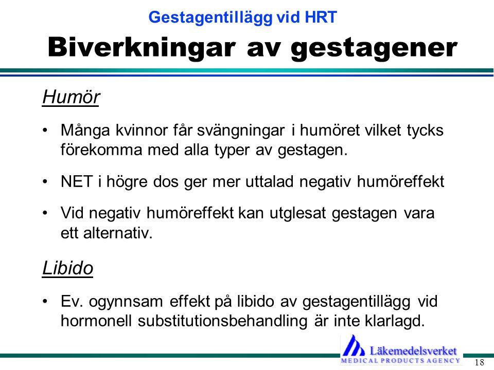 Gestagentillägg vid HRT 18 Biverkningar av gestagener Humör •Många kvinnor får svängningar i humöret vilket tycks förekomma med alla typer av gestagen.