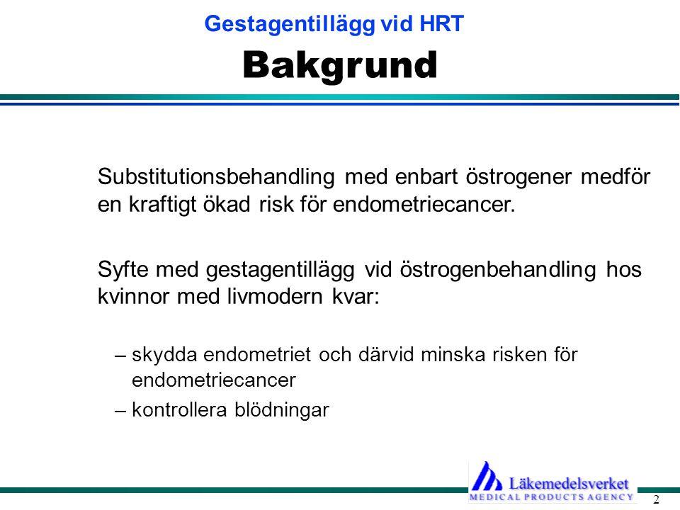 Gestagentillägg vid HRT 2 Bakgrund Substitutionsbehandling med enbart östrogener medför en kraftigt ökad risk för endometriecancer. Syfte med gestagen