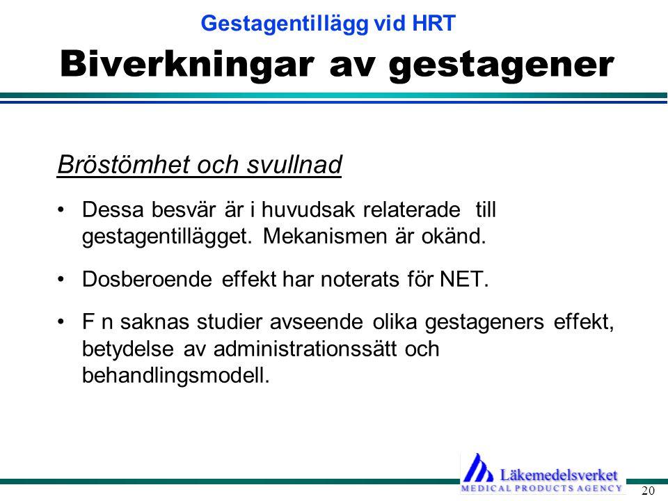 Gestagentillägg vid HRT 20 Biverkningar av gestagener Bröstömhet och svullnad •Dessa besvär är i huvudsak relaterade till gestagentillägget.