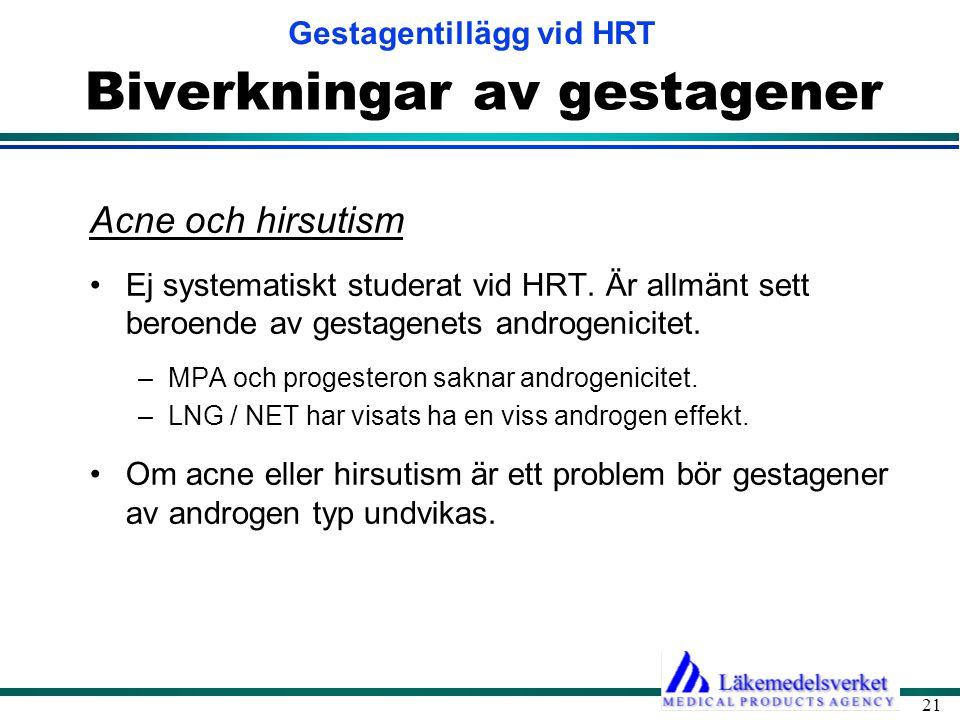 Gestagentillägg vid HRT 21 Biverkningar av gestagener Acne och hirsutism •Ej systematiskt studerat vid HRT. Är allmänt sett beroende av gestagenets an