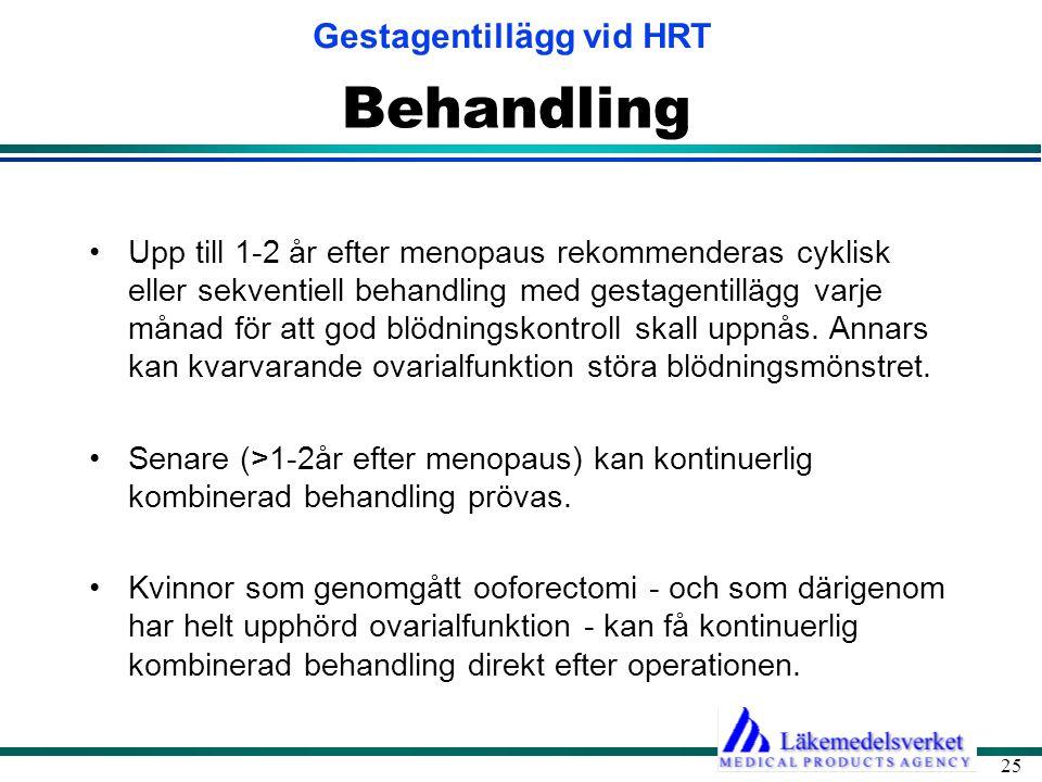 Gestagentillägg vid HRT 25 Behandling •Upp till 1-2 år efter menopaus rekommenderas cyklisk eller sekventiell behandling med gestagentillägg varje mån