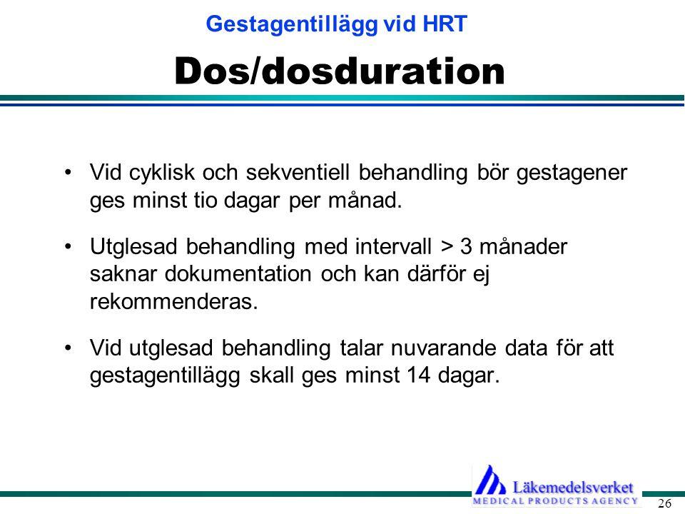Gestagentillägg vid HRT 26 Dos/dosduration •Vid cyklisk och sekventiell behandling bör gestagener ges minst tio dagar per månad. •Utglesad behandling