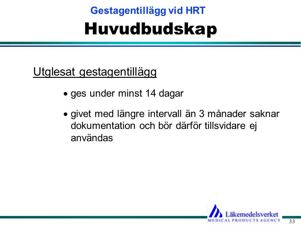 Gestagentillägg vid HRT 33 Huvudbudskap Utglesat gestagentillägg  ges under minst 14 dagar  givet med längre intervall än 3 månader saknar dokumentation och bör därför tillsvidare ej användas