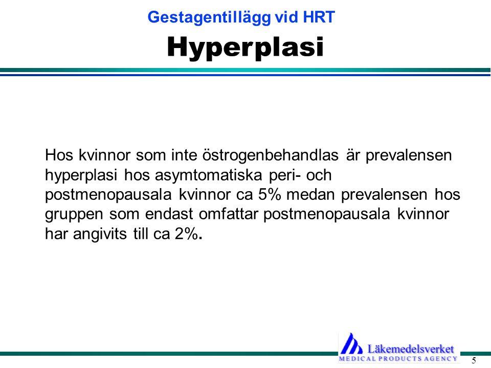 Gestagentillägg vid HRT 5 Hyperplasi Hos kvinnor som inte östrogenbehandlas är prevalensen hyperplasi hos asymtomatiska peri- och postmenopausala kvinnor ca 5% medan prevalensen hos gruppen som endast omfattar postmenopausala kvinnor har angivits till ca 2%.