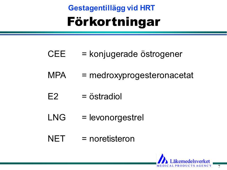 Gestagentillägg vid HRT 7 Förkortningar CEE = konjugerade östrogener MPA = medroxyprogesteronacetat E2 = östradiol LNG = levonorgestrel NET = noretisteron