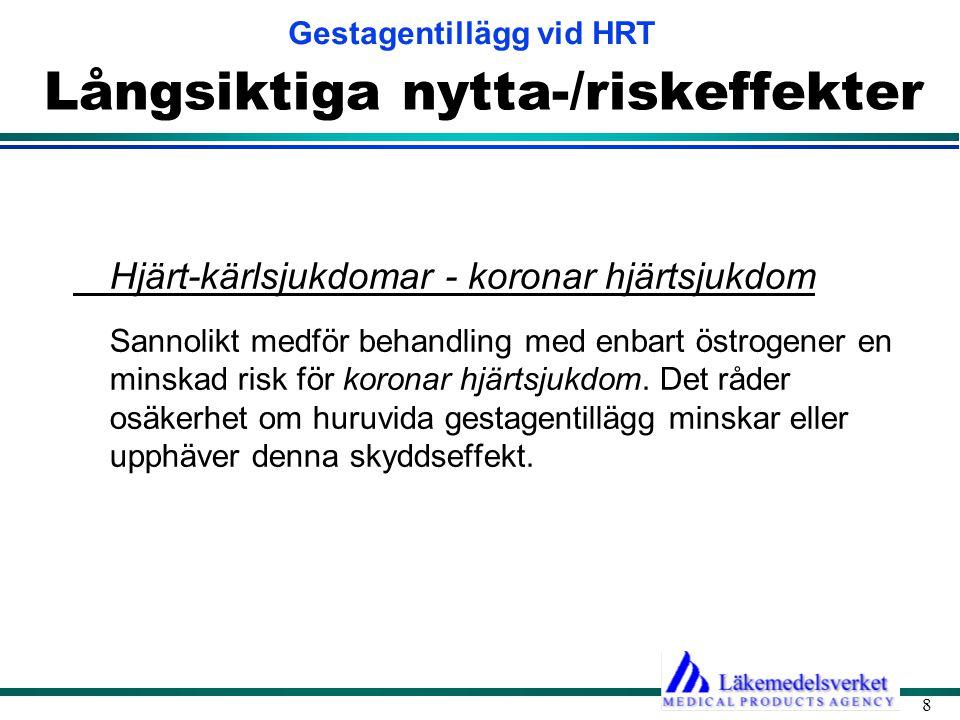 Gestagentillägg vid HRT 19 Biverkningar av gestagener Vikt och aptit •HRT med eller utan gestagen påverkar i allmänhet ej vikten.