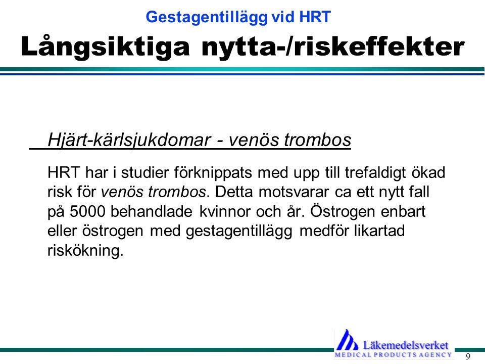 Gestagentillägg vid HRT 9 Långsiktiga nytta-/riskeffekter Hjärt-kärlsjukdomar - venös trombos HRT har i studier förknippats med upp till trefaldigt ökad risk för venös trombos.