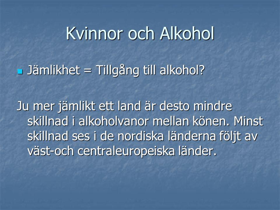 Kvinnor och Alkohol  Jämlikhet = Tillgång till alkohol? Ju mer jämlikt ett land är desto mindre skillnad i alkoholvanor mellan könen. Minst skillnad