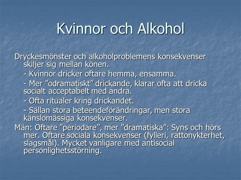 """Kvinnor och Alkohol Dryckesmönster och alkoholproblemens konsekvenser skiljer sig mellan könen. - Kvinnor dricker oftare hemma, ensamma. - Mer """"odrama"""