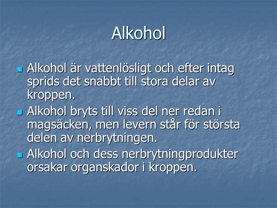 Alkohol  Alkohol är vattenlösligt och efter intag sprids det snabbt till stora delar av kroppen.  Alkohol bryts till viss del ner redan i magsäcken,