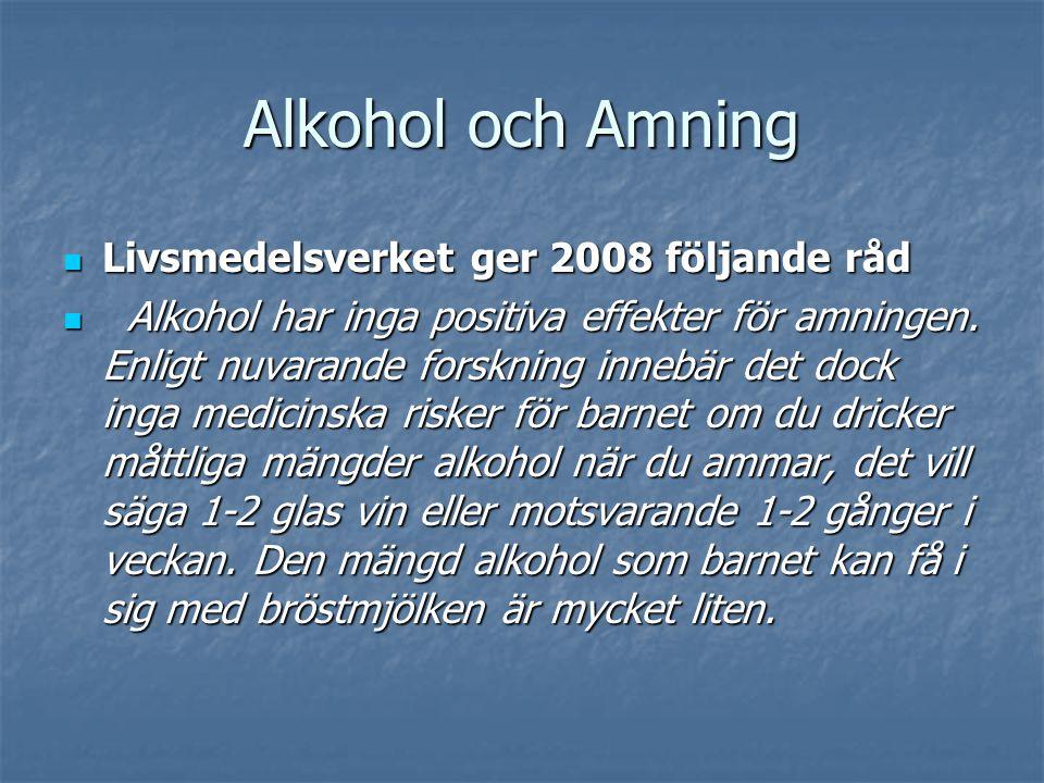 Alkohol och Amning  Livsmedelsverket ger 2008 följande råd  Alkohol har inga positiva effekter för amningen. Enligt nuvarande forskning innebär det